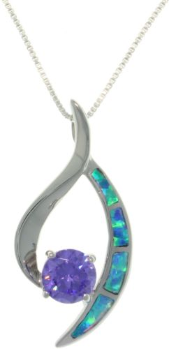 Jewelry Trends Sterling Silver Created Blue Opal and Amethyst Purple CZ Wishbone Pendant on 18 Inch Box Chain Necklace