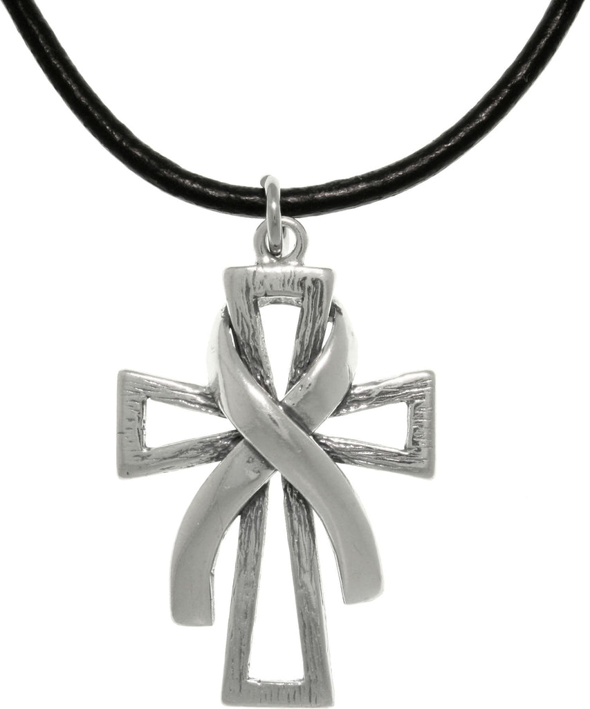 Jewelry Trends Sterling Silver Cross with Awareness Ribbon Pendant on Black Leather Necklace