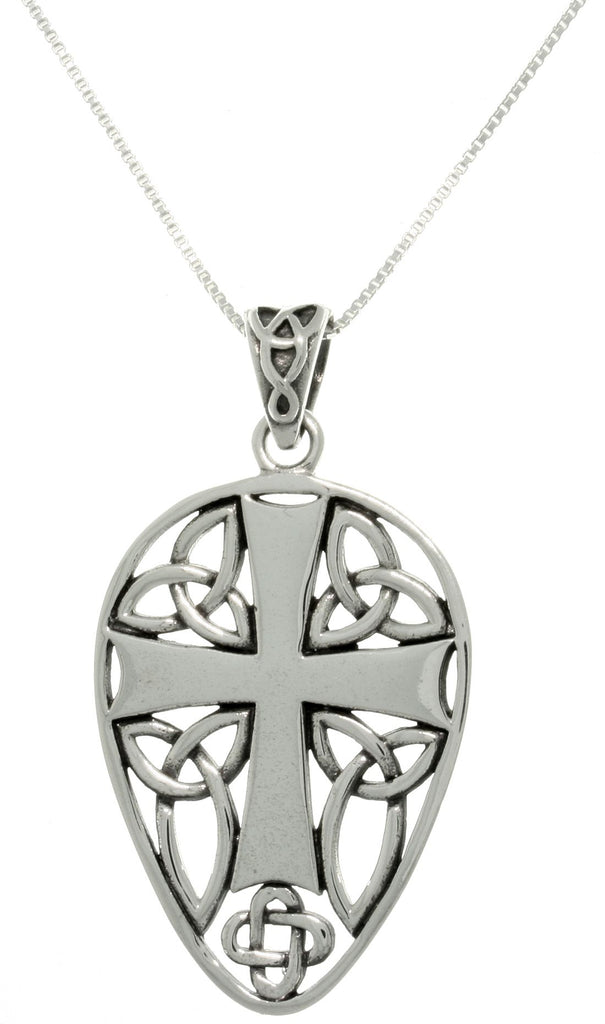 "Jewelry Trends Sterling Silver Celtic Knot Cross Shield Pendant on 18"" Box Chain Necklace"