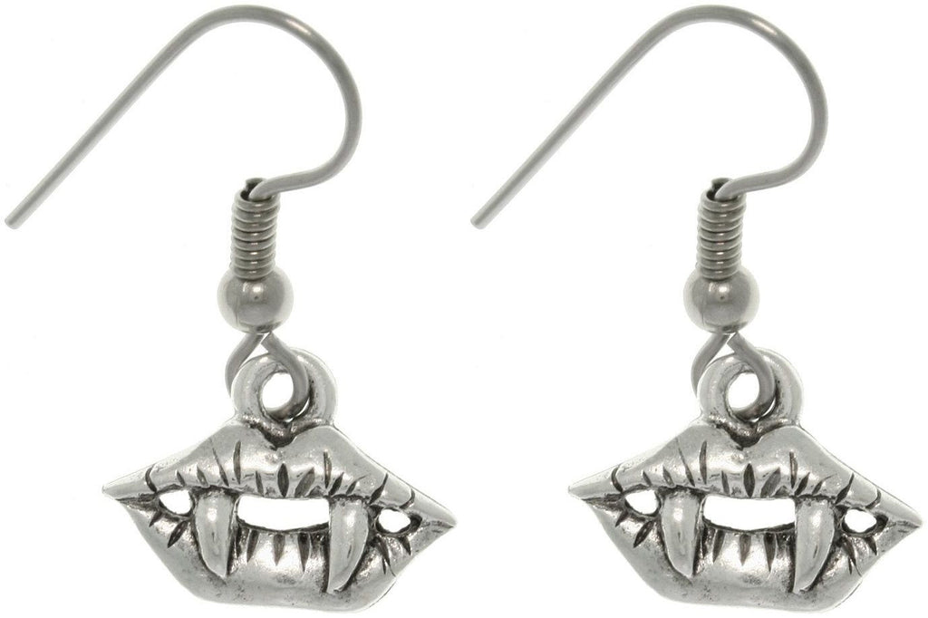 Jewelry Trends Pewter Vampire Fangs Halloween Dangle Earrings True Blood Inspired Jewelry