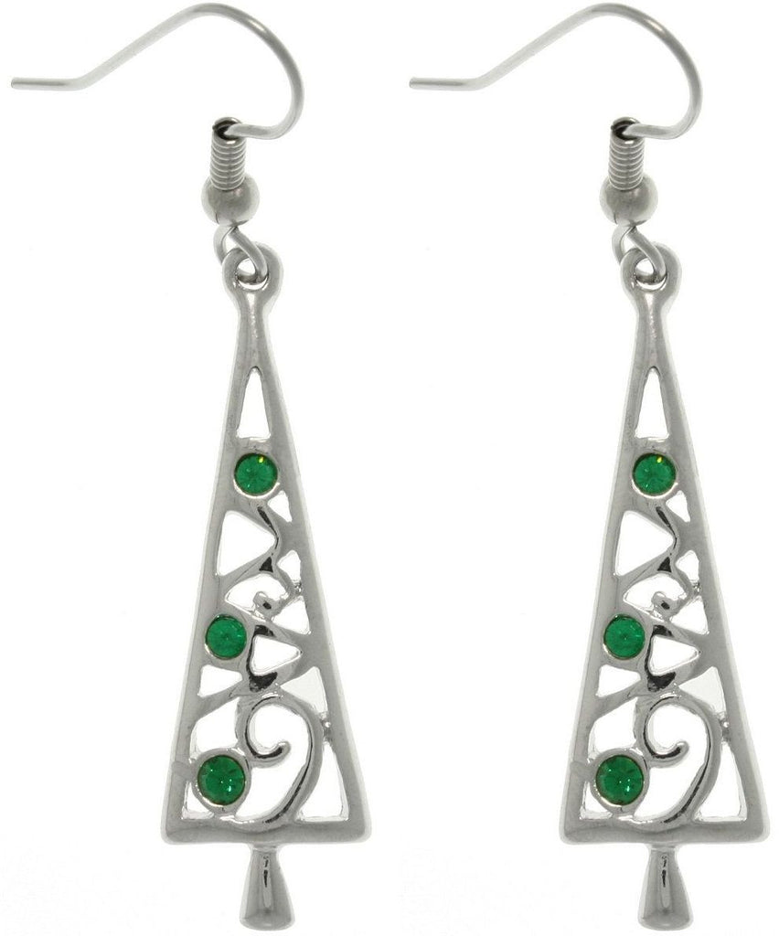 Jewelry Trends Pewter Holiday Christmas Tree Dangle Earrings with Bright Finish and Green Crystals