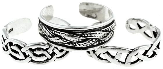 Jewelry Trends Sterling Silver Classic Celtic Toe Ring Set - Three Rings in Set