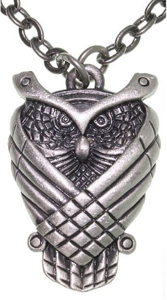 Jewelry Trends Pewter Good Luck Owl Unisex Pendant on 24 Inch Chain Necklace