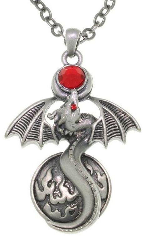 Jewelry Trends Pewter Fire Gem Dragon with Wings Balance Pendant with 24 Inch Chain Necklace