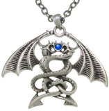 Jewelry Trends Pewter Double Dragon Unisex Pendant on 24 Inch Chain Necklace