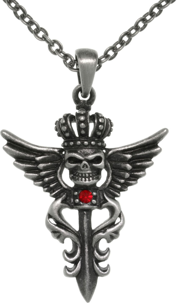 Jewelry Trends Pewter Winged Skull with Crown Pendant on 24 Inch Chain Necklace