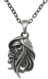 Jewelry Trends Pewter Grim Reaper Skull Face Pendant on 24 Inch Chain Necklace