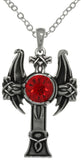 Jewelry Trends Pewter Cross with Red Stone and Dragon Wings Pendant on 24 Inch Chain Necklace