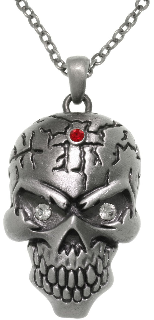 Jewelry Trends Pewter Large Skull Head Pendant with Crystal Eyes on 24 Inch Chain Necklace