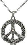 Jewelry Trends Pewter Alloy Celtic Peace Sign Pendant with 23 Inch Chain Necklace