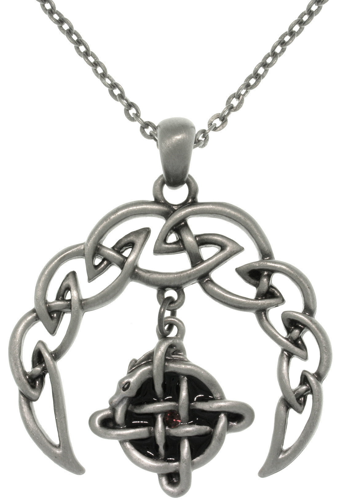 Jewelry Trends Pewter Celtic Crescent Moon Knot Pendant with 24 Inch Chain Necklace