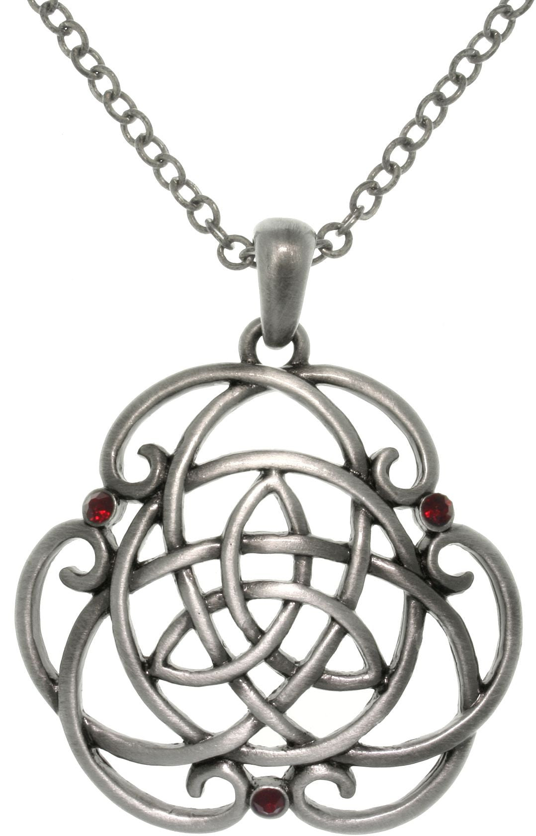 Jewelry Trends Pewter Alloy Celtic Trinity Knot Scroll Pendant with 23 Inch Chain Necklace
