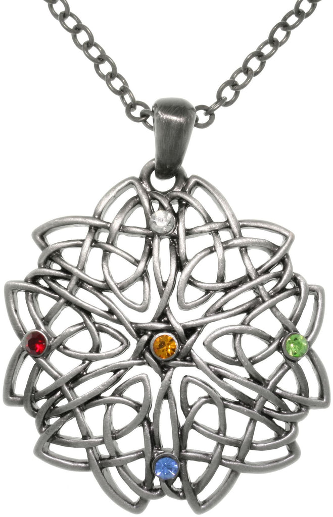 Jewelry Trends Pewter Celtic Rising Star Knot Work Multi Color Rhine Stone Pendant on Chain Necklace