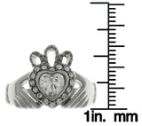 Jewelry Trends Stainless Steel Celtic Ring with Claddagh Heart Crown and Rhinestone Crystals Whole Sizes 5 - 8 - 5