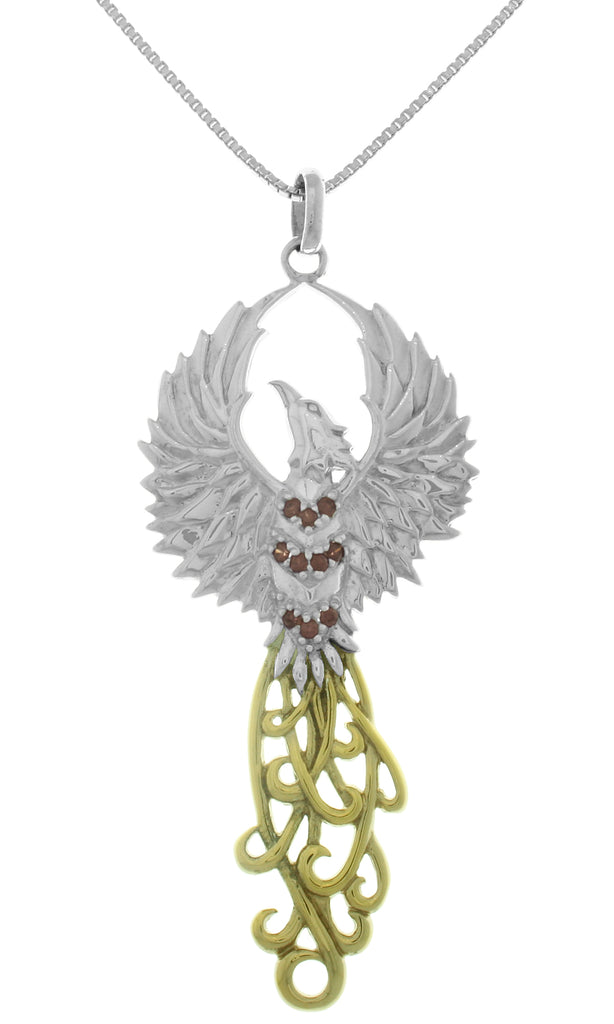 Jewelry Trends Rising Phoenix Fire Bird Sterling Silver and 18k Gold-Plated Pendant Necklace 18""