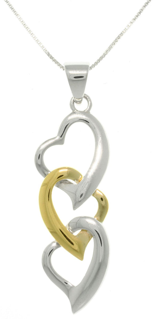 Jewelry Trends Sterling Silver and Gold-plated Three Heart Pendant with 18 Inch Chain Necklace Mothers Day Gift