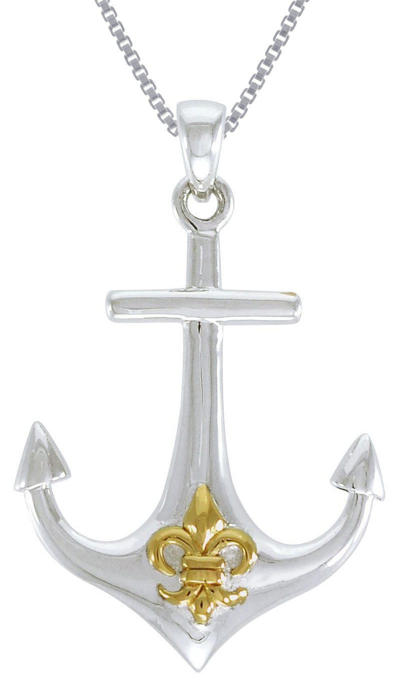 Jewelry trends sterling silver anchor pendant with gold plated fleur jewelry trends sterling silver anchor pendant with gold plated fleur de lis symbol on 18 inch box chain necklace aloadofball Images