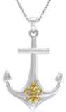 Jewelry Trends Sterling Silver Anchor Pendant with Gold-plated Fleur De Lis Symbol on 18 Inch Box Chain Necklace