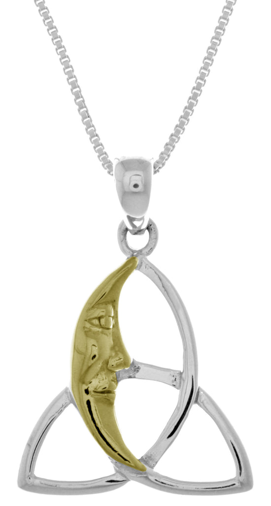 Jewelry Trends Sterling Silver Celtic Trinity Knot Pendant with 14k Gold-Plated Moon on 18 Inch Box Chain Necklace