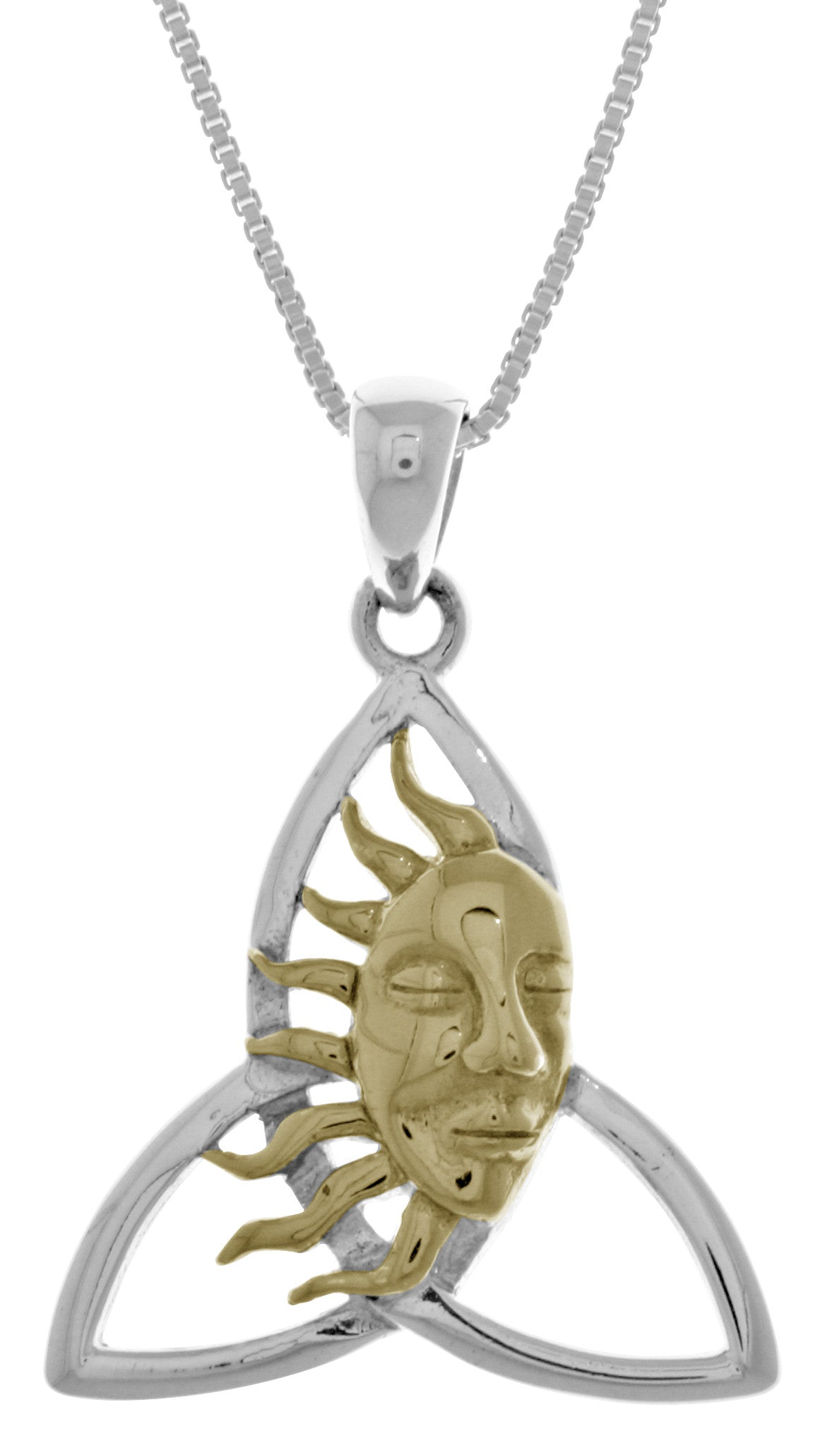 Jewelry Trends Sterling Silver Celtic Trinity Knot Pendant with 14k Gold-Plated Sun Face on 18 Inch Chain Necklace