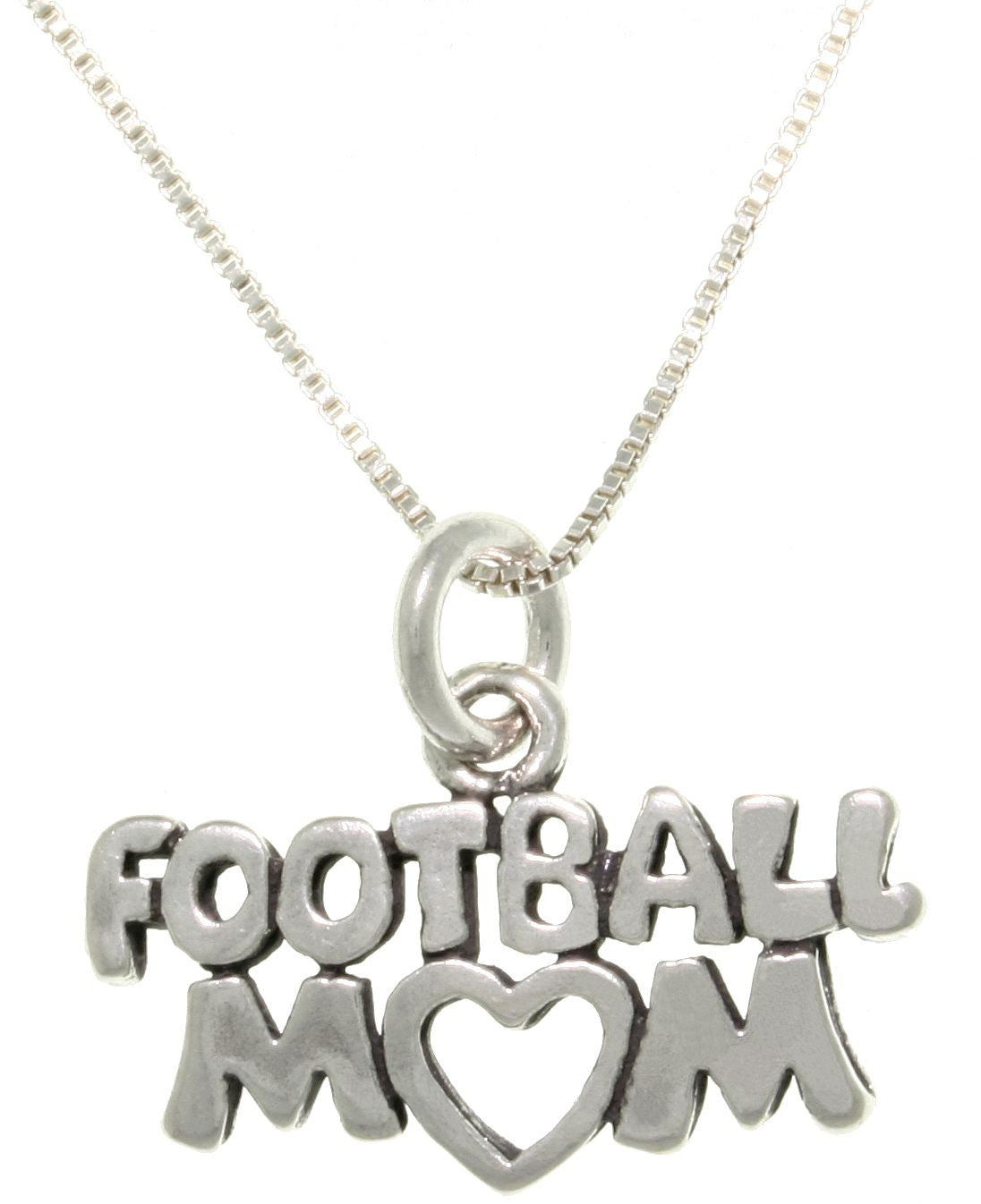 Jewelry Trends Sterling Silver Football Mom Pendant with 18 Inch Box Chain Necklace
