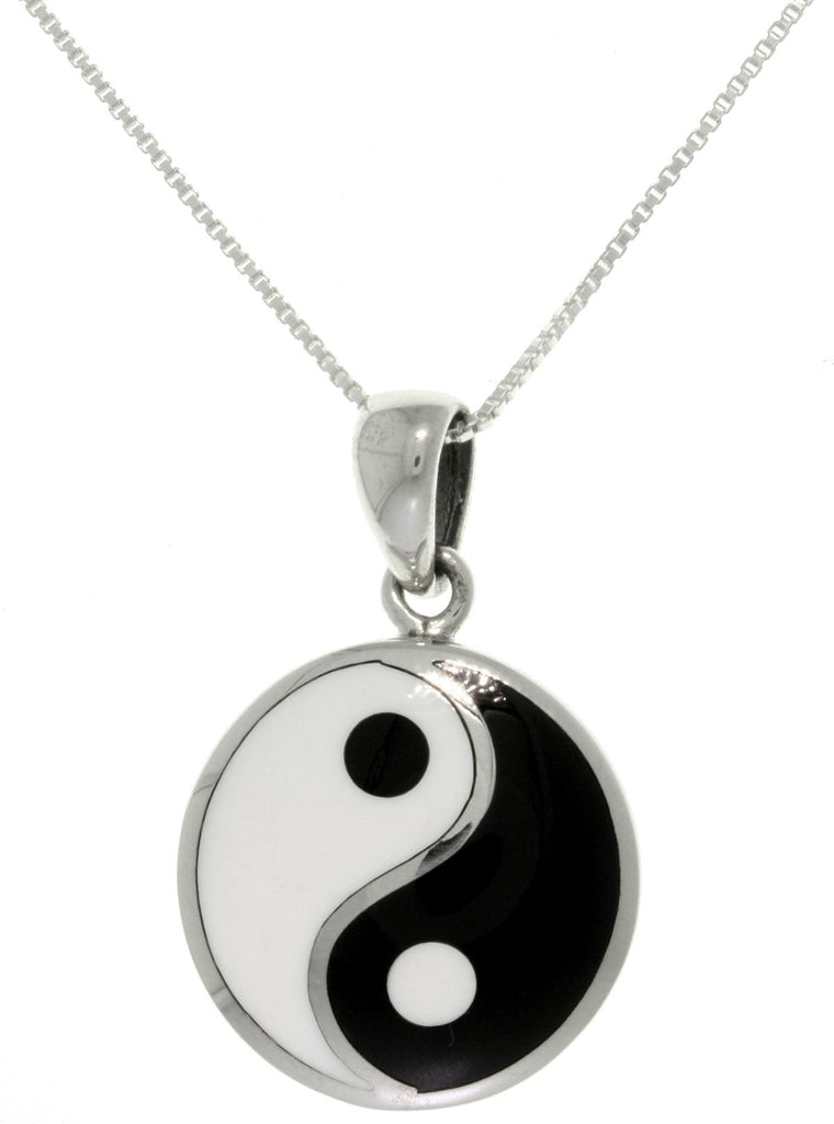 Jewelry Trends Sterling Silver Yin Yang Pendant Black and White Balance Symbol on 18 Inch Chain Necklace
