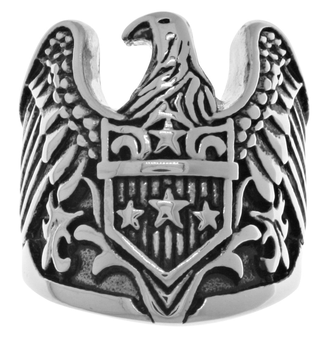 Jewelry Trends Stainless Steel American Eagle Shield Large Biker Ring