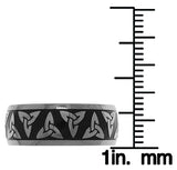 Jewelry Trends Titanium Celtic Trinity Knot Band Ring with Black IP