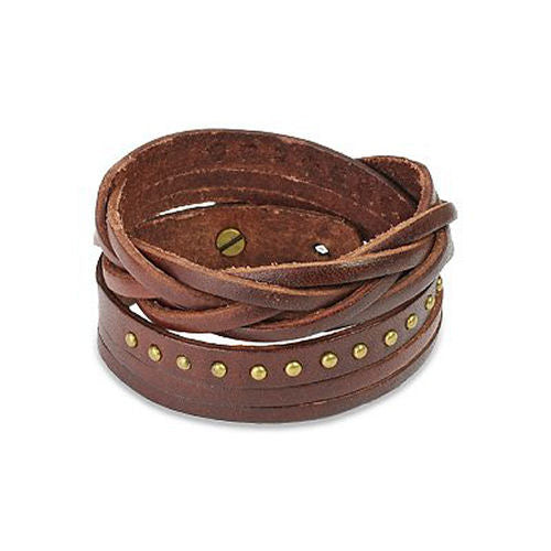 Jewelry Trends Brown Genuine Leather Gold-tone Metal Stud and Weave Design Multi-wrap Bracelet