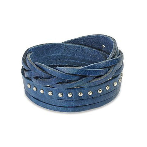 Jewelry Trends Blue Genuine Leather Silver-tone Metal Stud and Weave Design Multi-wrap Bracelet