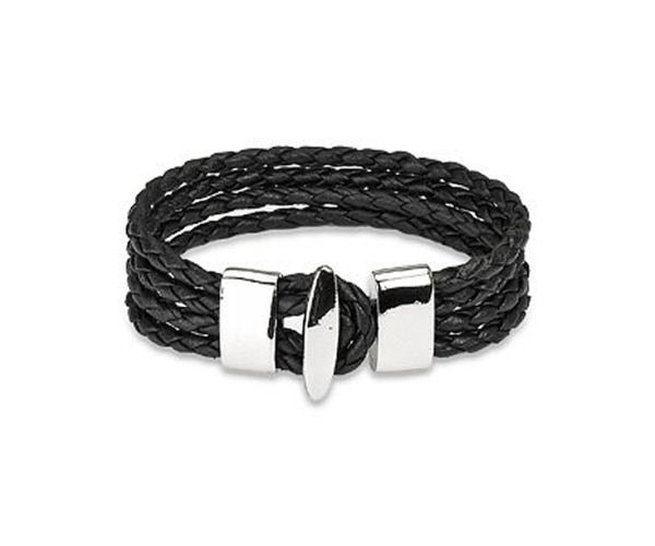 Jewelry Trends Black Genuine Leather Four Braided Strands with Steel T-bar Closure Bracelet