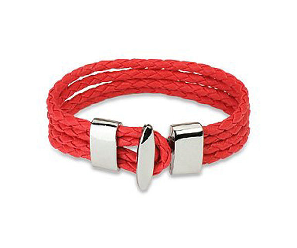 Jewelry Trends Red Genuine Leather Four Braided Strands with Steel T-bar Closure Bracelet