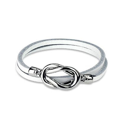 Jewelry Trends White Genuine Leather Silver-tone Magnetic Steel Knot Closure Wrap Bracelet