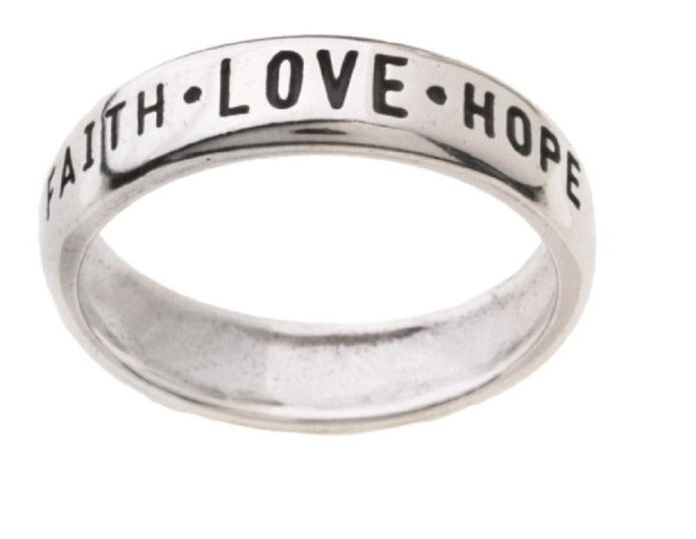 Jewelry Trends Sterling Silver Faith Love Hope with '1st Cor 13:13' Band Ring Inscription Sizes 5 - 10 Religious Bible Verse