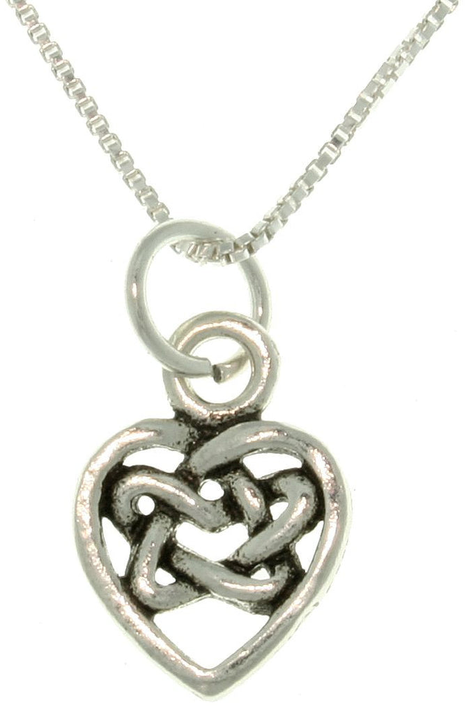 Jewelry Trends Sterling Silver Celtic Knot Heart Small Charm on 18 Inch Necklace