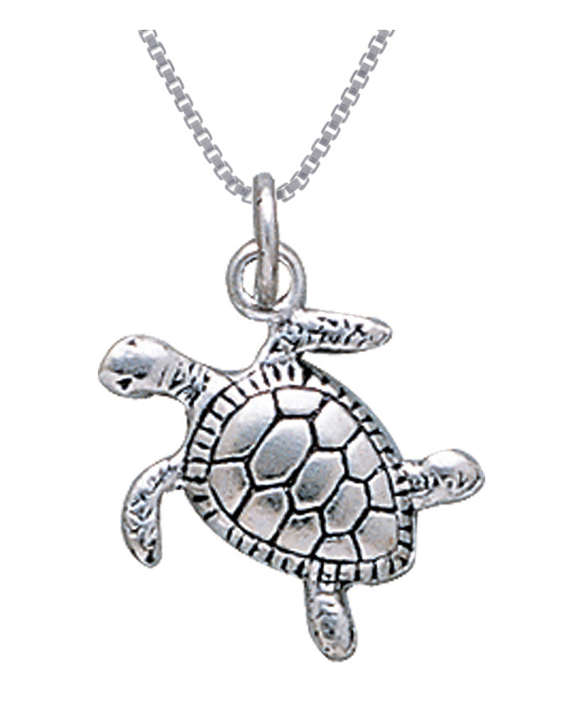 Jewelry Trends Sterling Silver Turtle Charm Pendant on 18 Inch Box Chain Necklace