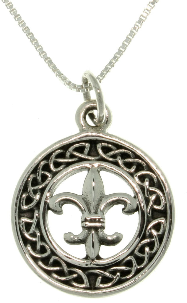 Jewelry Trends Sterling Silver Celtic Fleur De Lis Charm on 18 Inch Box Chain Necklace