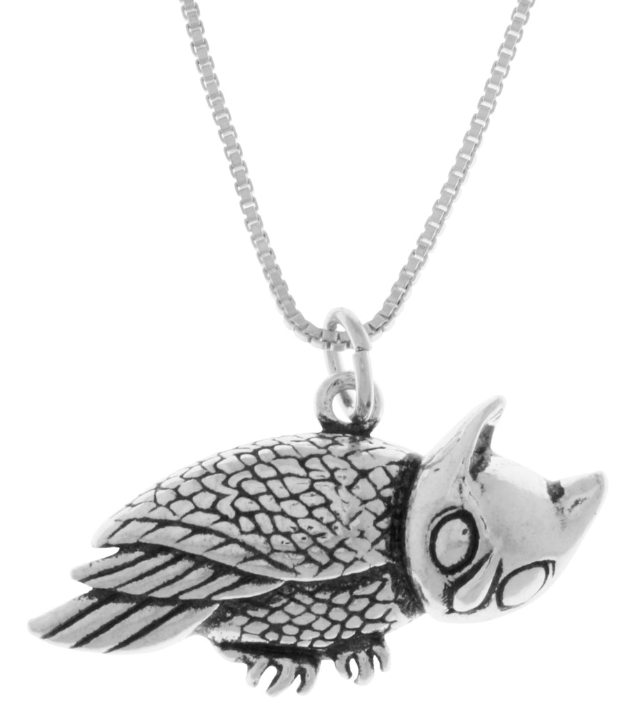 Jewelry Trends Sterling Silver Horned Barn Owl Pendant on 18 Inch Box Chain Necklace