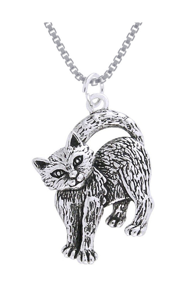 Jewelry Trends Sterling Silver Playful Kitten Cat Pendant on 18 Inch Box Chain Necklace