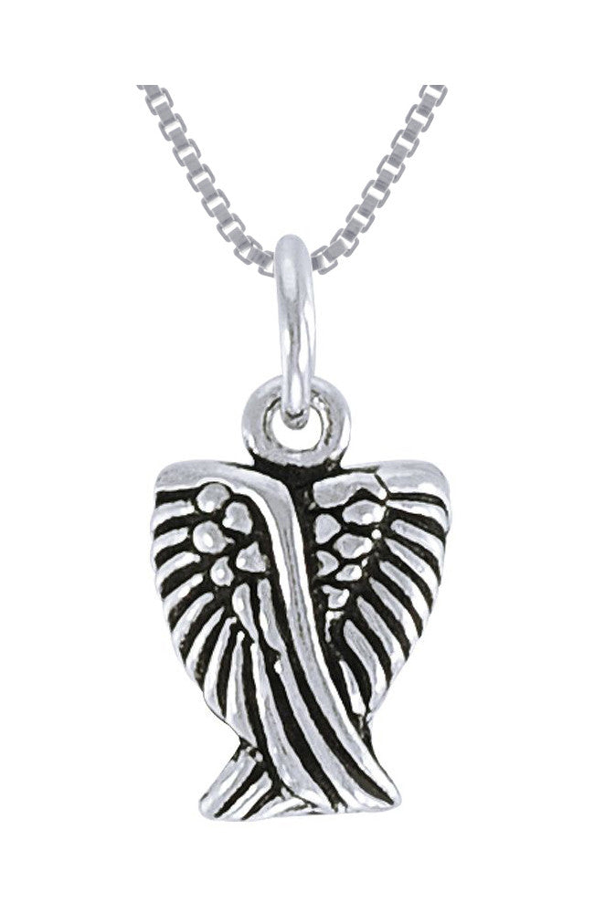 Jewelry Trends Sterling Silver Small Angel Wings Pendant on 18 Inch Box Chain Necklace First Communion Gift