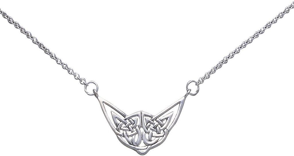 Jewelry Trends Sterling Silver Celtic Knotwork Pendant Centered on Link Chain Necklace