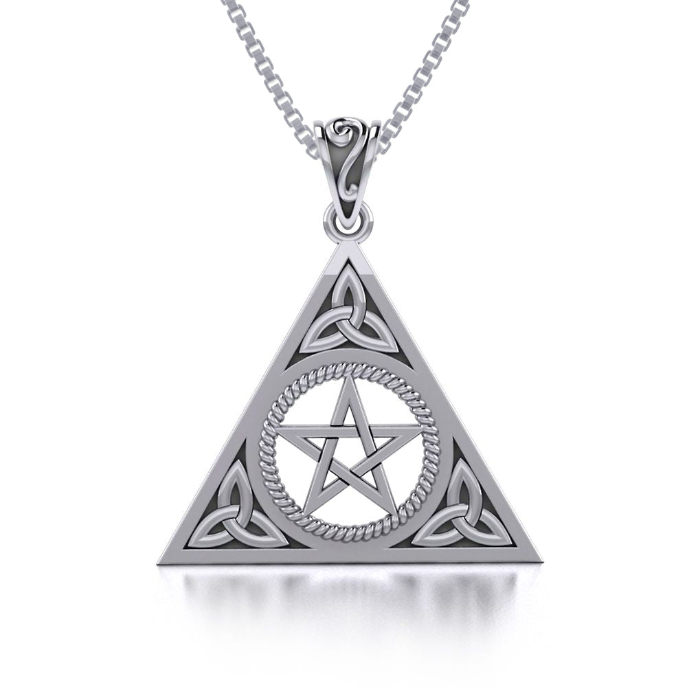 Jewelry Trends Celtic Trinity Pentacle Sterling Silver Triangle Pendant Necklace 18""