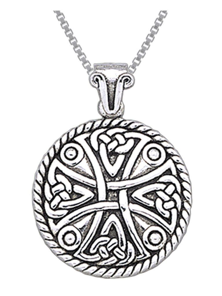 Jewelry Trends Sterling Silver Celtic Cross Templar Pendant Necklace 18""