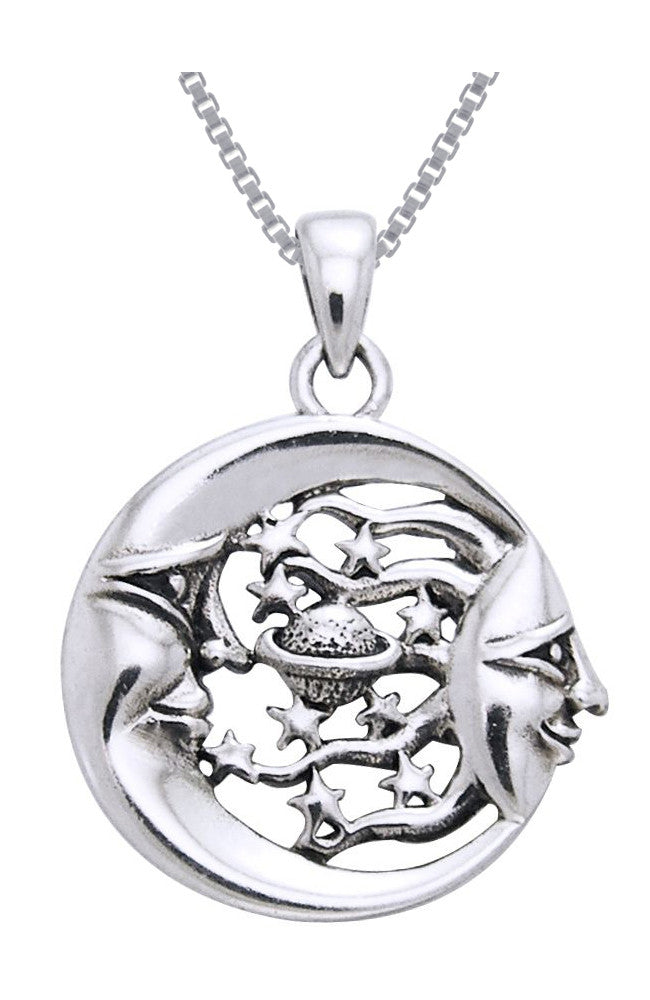 Jewelry Trends Sterling Silver Moon Sun Stars Celestial Pendant on 18 Inch Box Chain Necklace