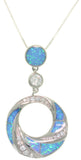 Jewelry Trends Sterling Silver Created Blue Opal and Pave Clear CZ Circle Drop Pendant on 18 Inch Box Chain Necklace
