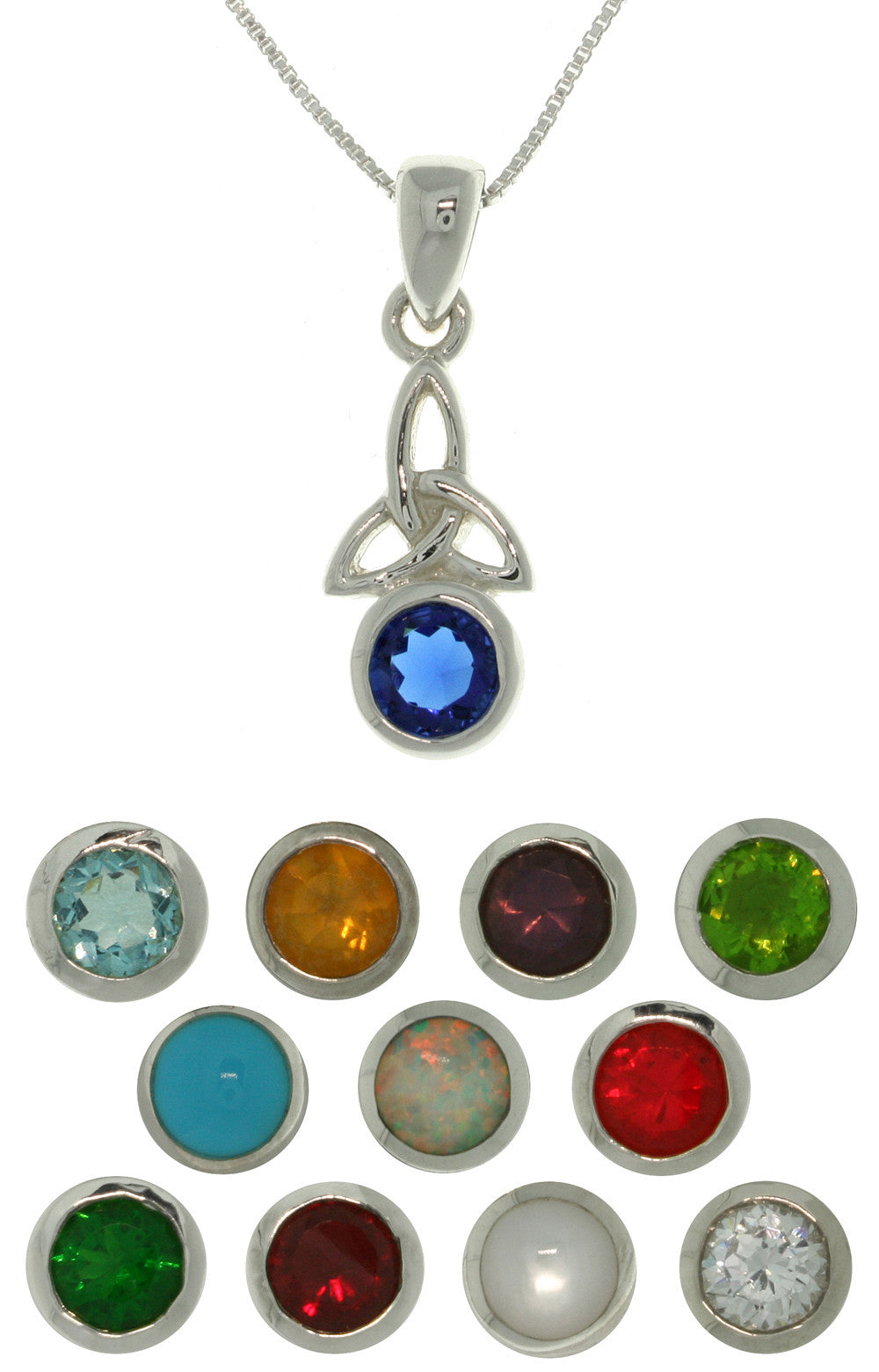 Jewelry Trends Sterling Silver Celtic Trinity Birth Stone Pendant on Box Chain Necklace
