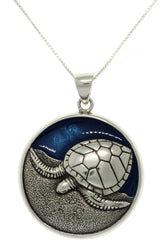 Jewelry Trends Sterling Silver and Blue Enamel Sea Turtle Pendant on 18 Inch Box Chain Necklace