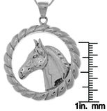 Jewelry Trends Sterling Silver Large Horse Profile Pendant on 18 Inch Box Chain Necklace