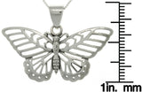 Jewelry Trends Sterling Silver Butterfly Flight Pendant on Box Chain Necklace