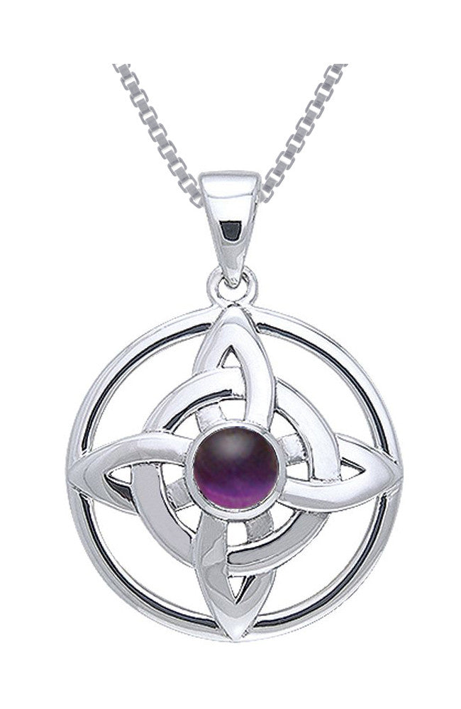 Jewelry Trends Sterling Silver with Purple Amethyst Quaternary Knot Pendant on 18 Inch Box Chain Necklace